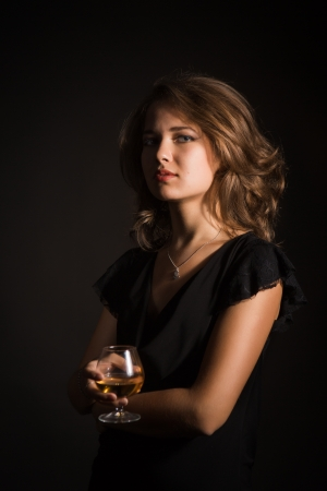beautiful girl with glass of wine Stock Photo - 21298745