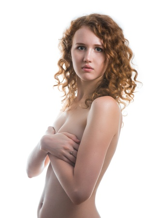 Chest of a young woman, isolated, white  photo