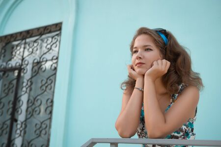 American redhead girl in suglasses. Photo in 60s style. Stock Photo - 22469834