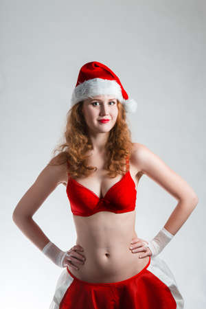 Pretty Santa girl closeup portrait, photo