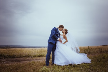 Bride and groom wedding portraits in nature