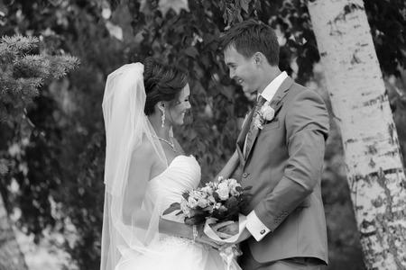 Pareja feliz en el día de la boda. La novia y el novio. Foto de archivo - 27072450