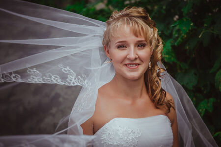 Portrait of a beautiful smiling bride Stock Photo