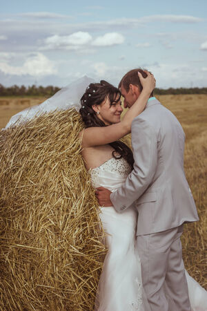 Beautiful bride and groom portrait in  nature Stock Photo