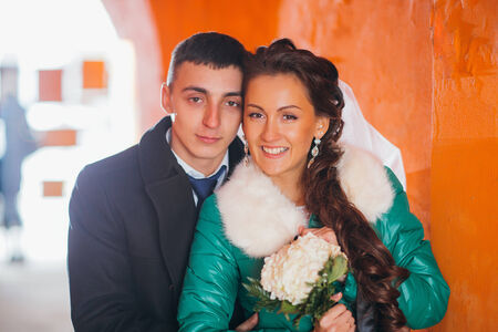 Romantic groom and bride in their wedding day