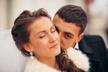 Morning wedding  kiss in  Prague Stock Photo
