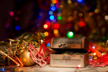 Treasure chest with Christmas decorations Stock Photo