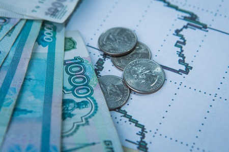 Ruble exchange rate on international  stock exchanges. photo