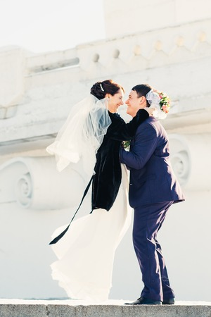winter wedding: A happy couple in winter wedding  day Stock Photo