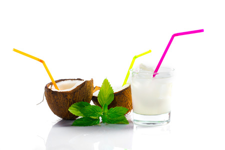 Pinacolada drink with  mint leaf on white background photo