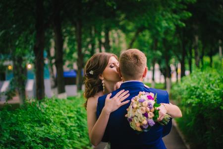 happy wedding: young bride and groom happy wedding day