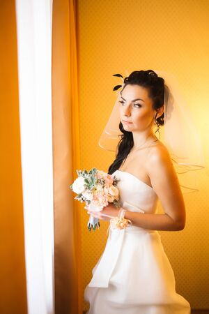 beautiful young happy bride standing near the window Stock Photo