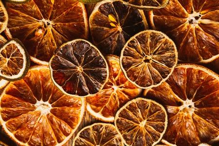 dried orange: background of rings of dried orange and  lemon Stock Photo