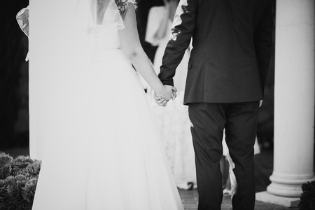 fingers put together: black white photo  hands of bride and groom during the oath