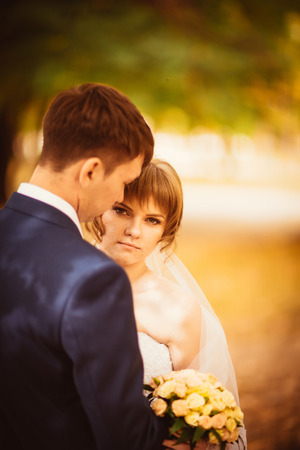 bluer: young bride and groom on  the bluer background