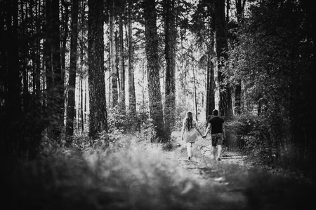 black and white photography: Black white photography romantic young couple go  and holding hands on background summer forest Stock Photo