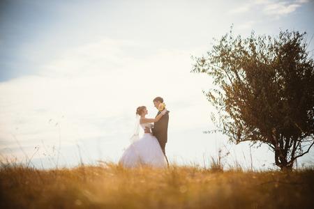 junge Braut und Bräutigam auf dem Hintergrund des Feldes