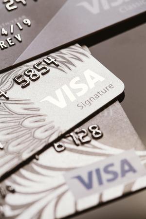 bankcard: Samara, Russia-July 25.2016: several Visa credit card close-up.