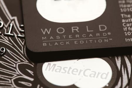 privilege: Samara, Russia-July 25.2016: World MasterCard Black edition Privilege credit card.