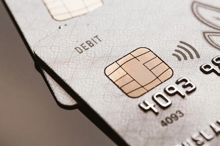 contactless: Samara, Russia-July 25.2016: debit Visa credit card chip sign contactless payment.