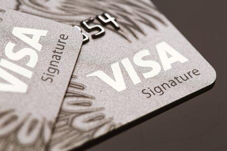 bankcard: Samara, Russia-July 25.2016: Visa signature credit card close-up. Editorial