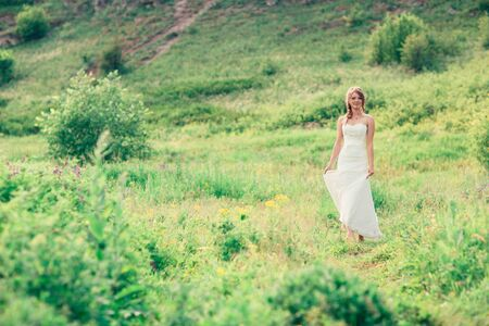 bride stands on a background of grass and mountains. Stock Photo