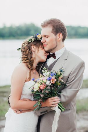 portrait of a bride and groom close-up. Stock Photo