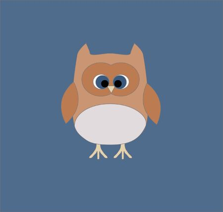 One light blue owl on blue background