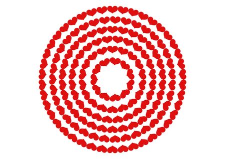 love red heart round on a white background Stock Photo