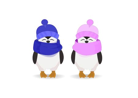Penguin couple in hats on a light background.