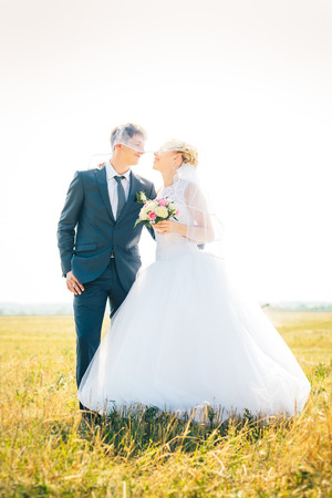 the bride and groom on the background of field Stock Photo