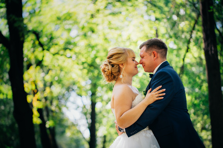Couple bride and groom on the background of the parks trees Stock Photo