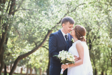 couple bride and groom on a park background