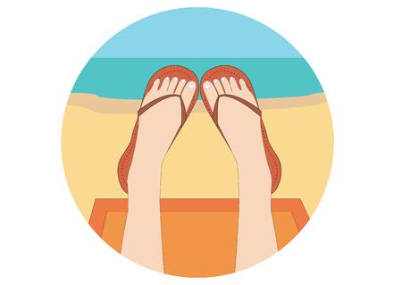 Girl on a summer sunny beach in color shale