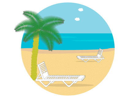 Summer beach with palm trees and sun loungers