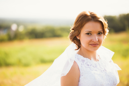 portrait of a young bride on the background the field Stock Photo