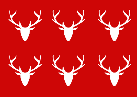 horny: White deer head silhouette on a red background