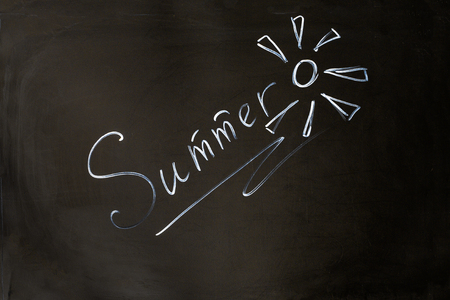 inscriptions: Summer chalk inscription on the board Stock Photo