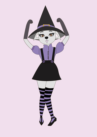 The girl-cat in the hat and striped stockings on a pink background.