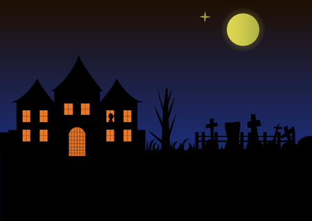 Halloween landscape house castle with burning windows and gothic views