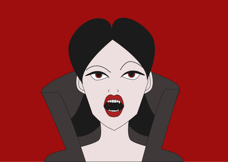 Female vampire with fangs on red background