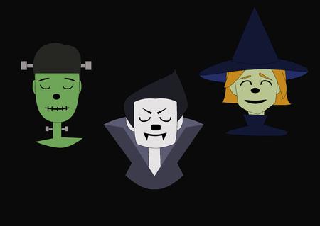 Cara de bruja, vampiro y monstruo verde sobre un fondo negro Foto de archivo - 87226584