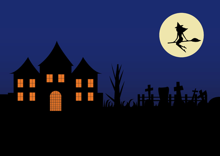 silhouette of a witch on a broomstick over a house at night.