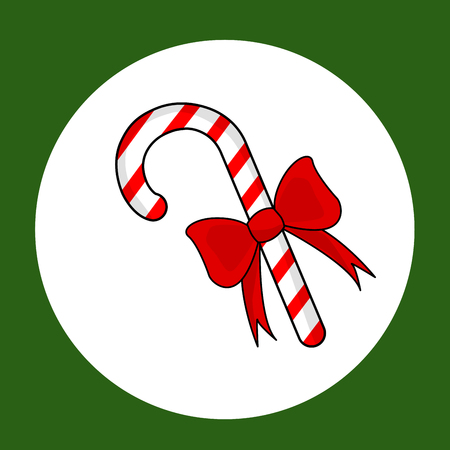 Candy cane with a red bow  in green illustration.