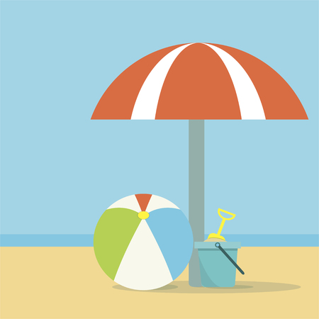 Beach umbrella, ball and a bucket with a shovel on sea background Illustration