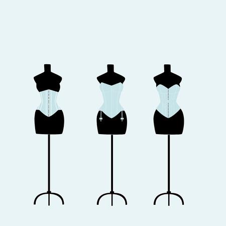 Several light mannequins with corsets on a light blue background Illustration