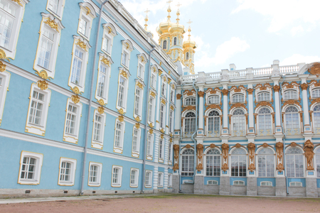 SAINT-PETERSBURG, RUSSIA - July 10, 2014: The Catherine Palace, located in the town of Tsarskoye Selo Editorial