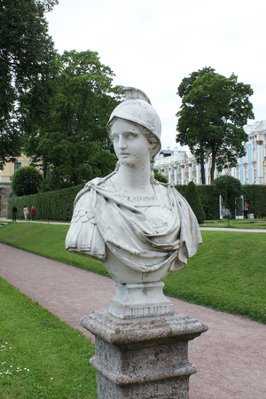 SAINT-PETERSBURG, RUSSIA - July 10, 2014: ancient sculptures in the park of the Catherine Palace