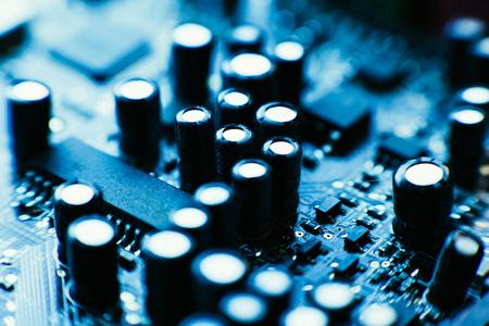 computer board capacitors blue color close up. Stock fotó