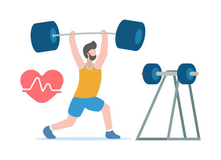 Vector body-building concept. Healthy lifestyle. Professional sports. A pumped-up man in sportswear lifts a huge heavy dumbbell above him, which he took from the counter. Heart strain.